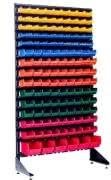 Пластиковые контейнеры на стеллаже, для запчастей